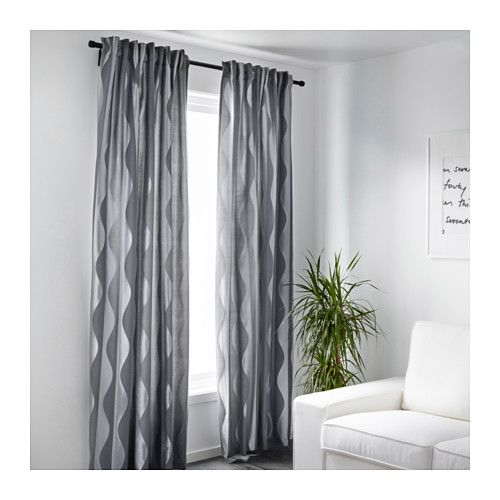 IKEA MURRUTA curtains, 1 pair The curtains can be used on a curtain rod or a curtain track.