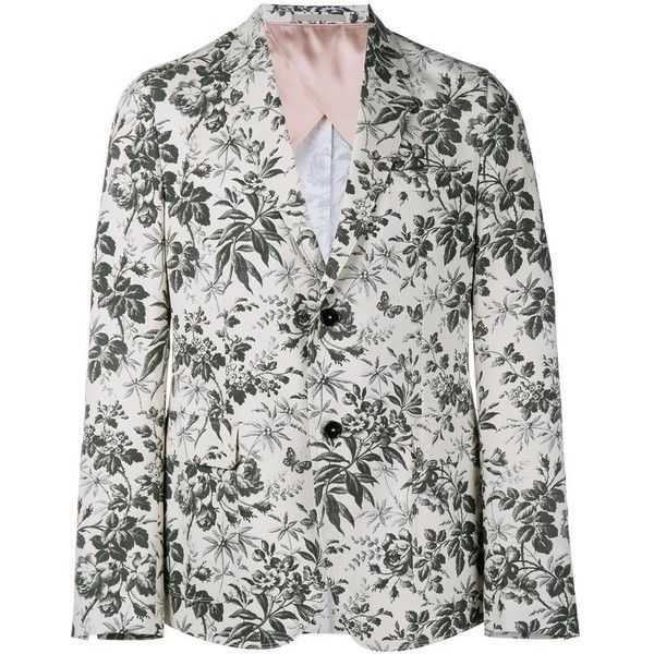 Gucci tailored floral blazer (2,320 CAD) ❤ liked on Polyvore featuring men's fashion, men's clothing, men's sportcoats, white, men's sportcoats and blazers, organic cotton men's clothing, off white mens clothing and gucci mens clothing