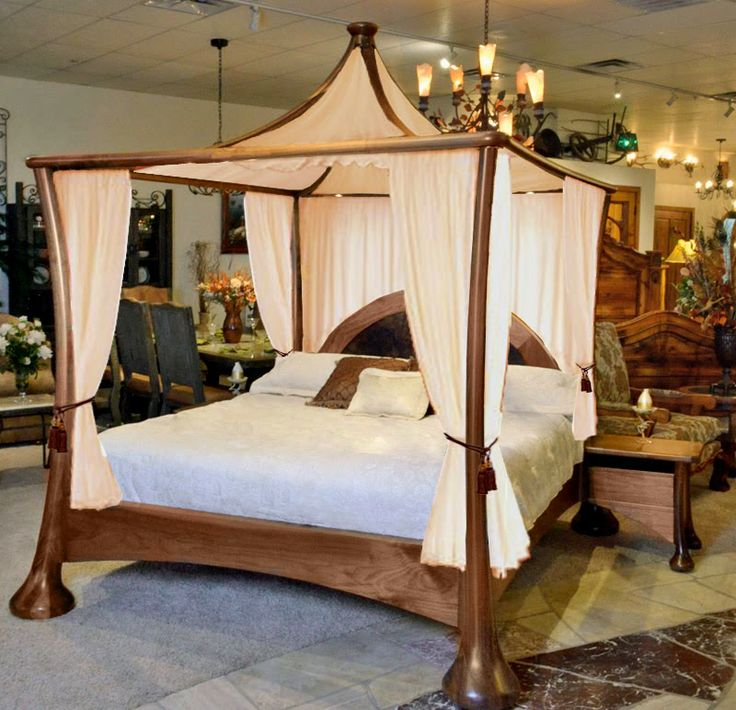 canopy bed solid walnut bed teak wood carving furniture