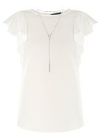 Womens Ivory Ruffle T-Shirt with Necklace- White
