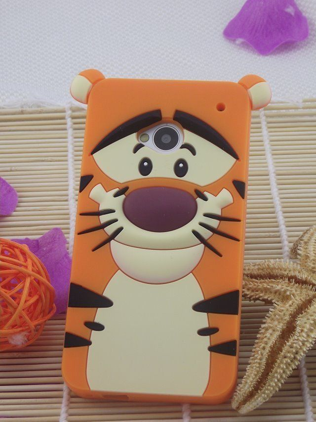 For HTC ONE M7 case 3D sulley monster tiger alice cat rubber telephone back cases covers for htc one m7 free shipping