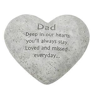 In Loving Memory Graveside Heart Plaque Stone - Dad Grave Memorial