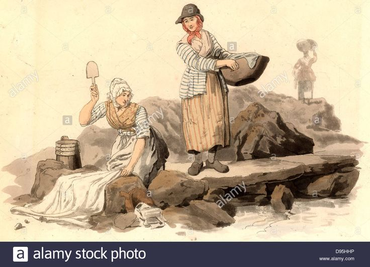 Welsh washer women doing their washing in a stream at the public washing place. From 'Costume of Great Britain' by William Stock Photo