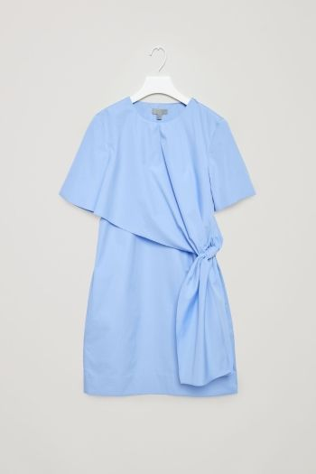 COS Dress with knot detail in Sky Blue