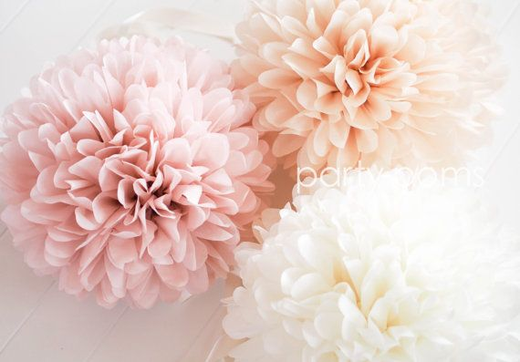 10 Tissue Paper Poms .. Wedding and Ceremony Decor .. Custom Colors