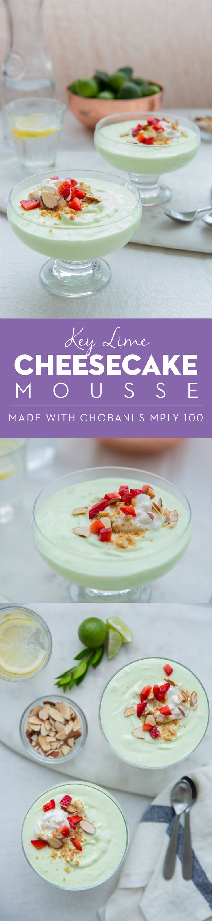 Chobani Simply 100 makes dessert just as delicious and a little less decadent! Whip up this Key Lime Cheesecake Mousse and please the party!