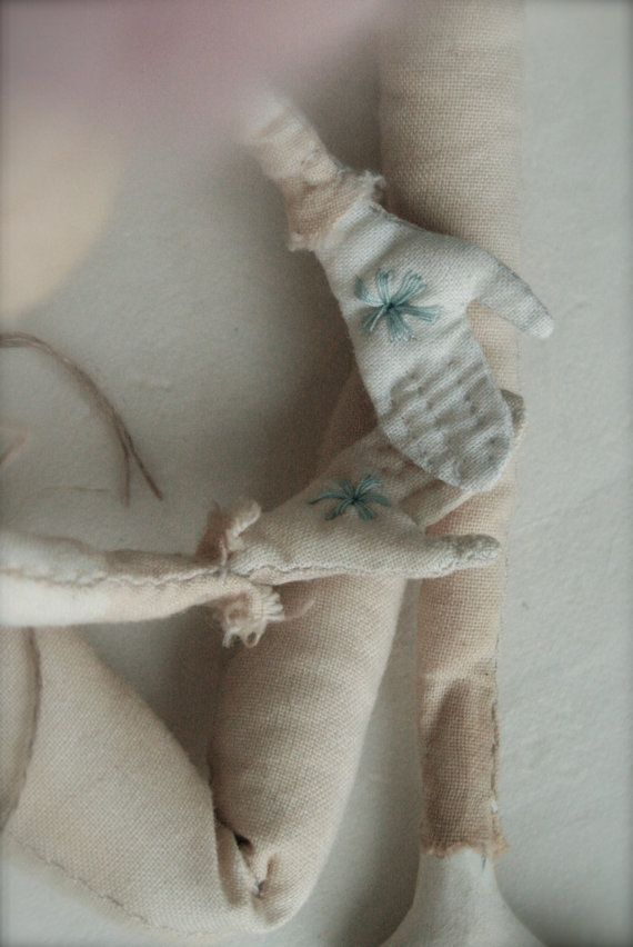 Cordelia Embroidered Calico Cloth Art Doll by ThePaleRook on Etsy