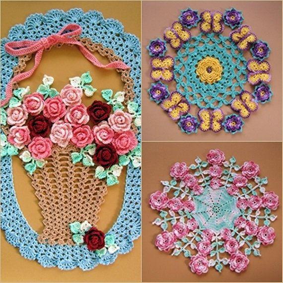 PDF Crochet Pattern più floreale centrini-cinque diversi disegni d'epoca