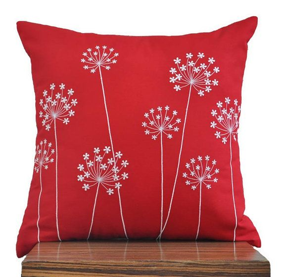 "Off White Hydrangea - Throw Pillow Cover - 18"" x 18"" Decorative Pillow Cover - Red Linen with Off White Floral Pattern Embroidery. $23.00, via Etsy."