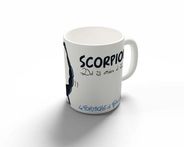 """Tazza """"Scorpione""""   Le Formiche di Fabio Vettori #formiche #MUG #tazza #regalo #oroscopo #gift #zodiaco #scorpione"""