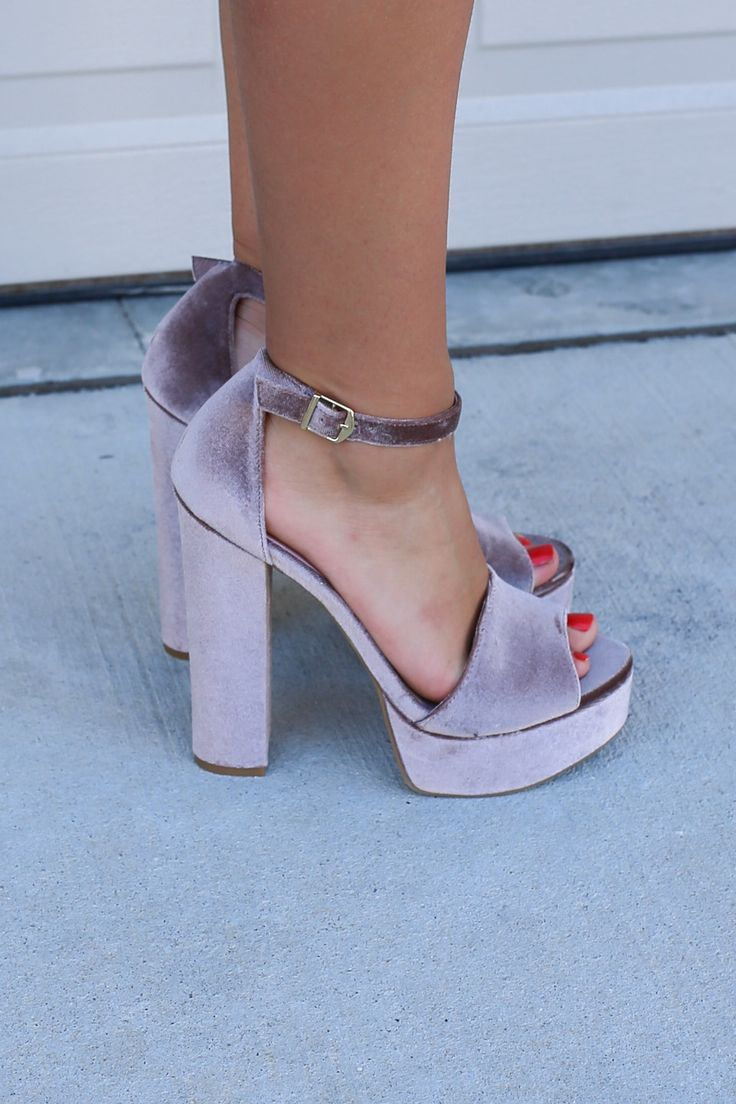 - Velvet Dark Nude - Heel height is 6 inches - Platform height is 1.5 inches - Open toe - Buckle ankle strap - Chunky heel