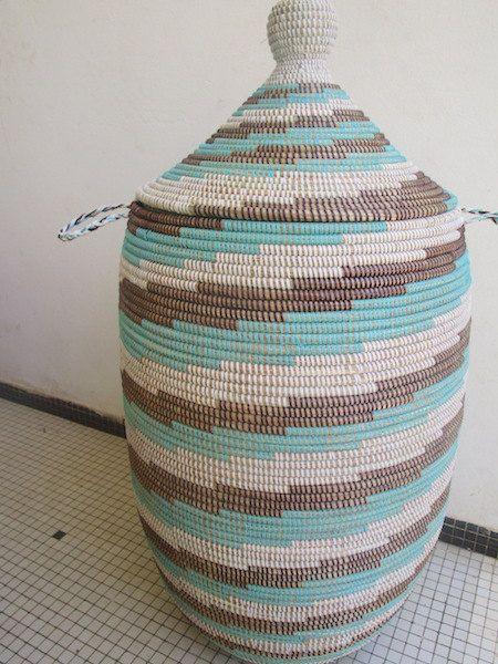 Subway Style,Swirl, African Laundry Basket, Aqua, Black and White, 1m Tall, 3 feet Contemporary Hamper