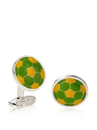Tateossian Green Yellow Football Cufflinks