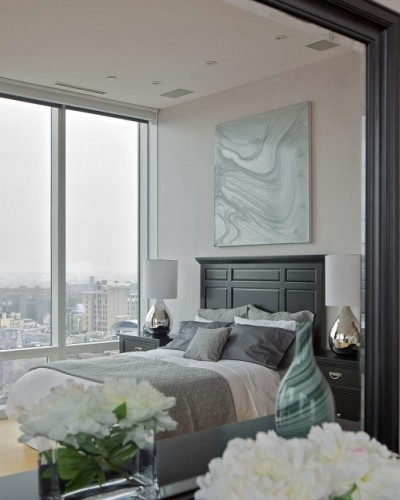 .. Bedroom theme with grey walls... Grey teal accents keep bedroom bright and airy... white and blue... Grey bed