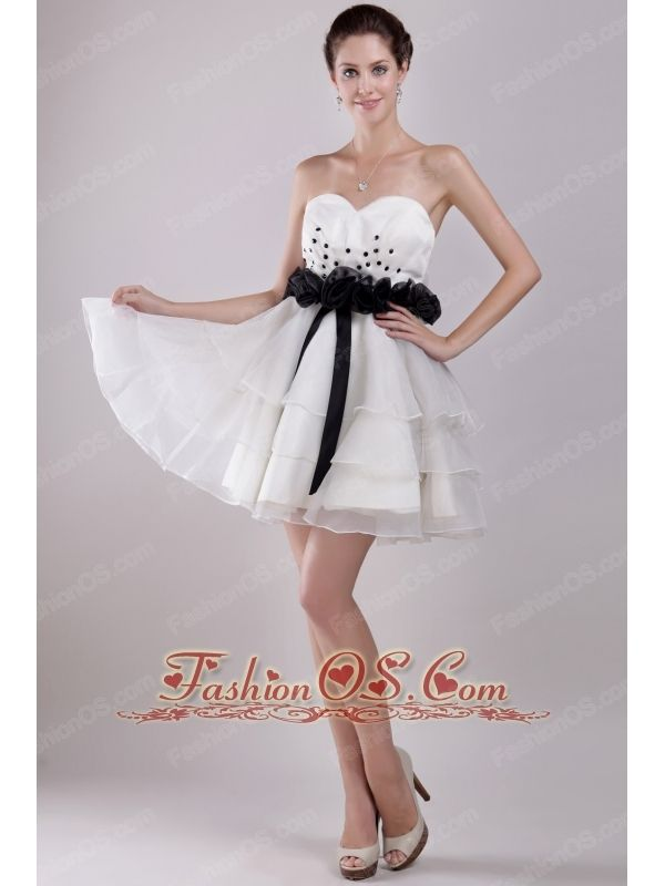 White A-Line / Princess Sweetheart Mini-length Organza Ruffles Prom ...