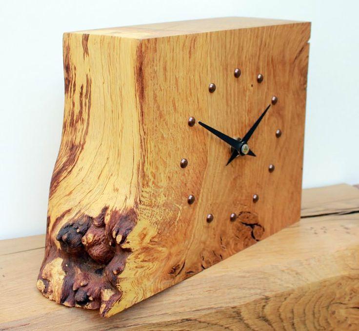 Square Rustic Oak Mantel Clock