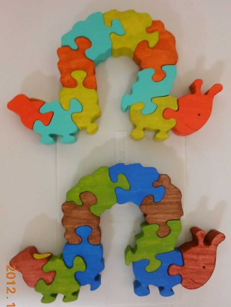 """Caterpillar - child safe acrylic paint used. A good small child freestanding wooden puzzle.     9.25 x 5.5 x 1""""   $15ea + shipping"""
