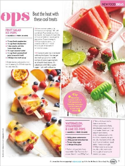 Food: Summer Ice Pops. Clipped from New Idea using Netpage.
