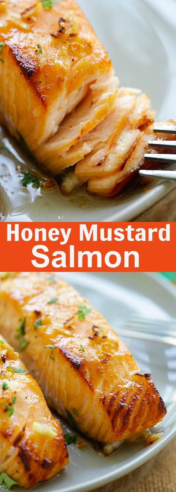 Honey Mustard Baked Salmon – moist, juicy and best baked salmon ever with honey mustard. Takes 10 mins active time and dinner is ready | rasamalaysia.com