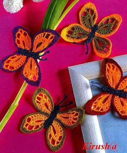colorful crochet butterflies :: free crochet charts. many different kind of butterfly designs