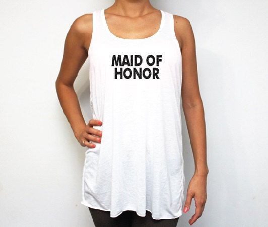 Maid of Honor Glitter White Racerback Tank Tops by BridesmaidTank