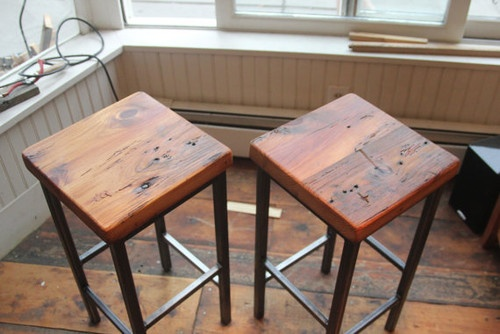 Reclaimed Pine on Metal Square Bar Stools by Vermontfarmtable eclectic bar stools and counter stools