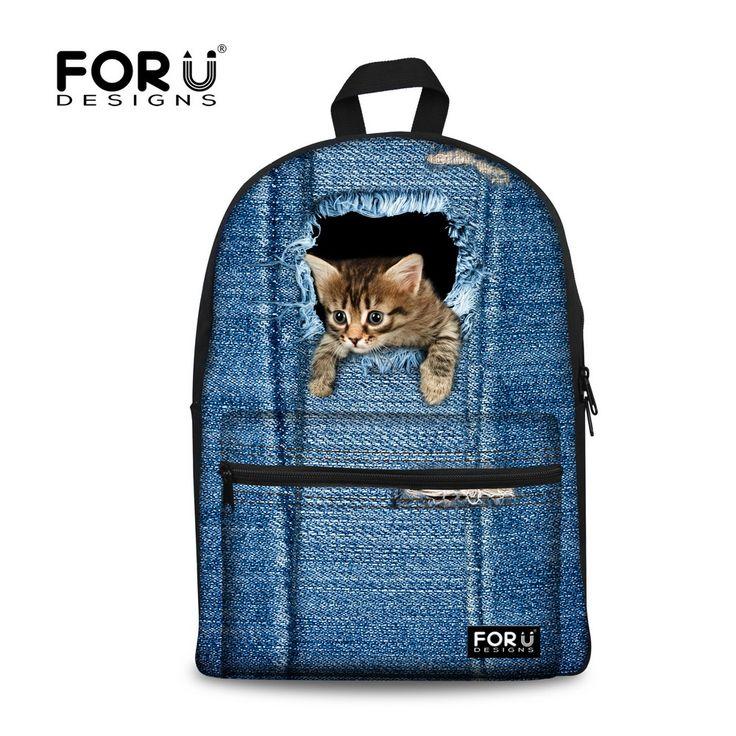 Fashion Women Backbag 3D Animal Cat Printing Backpack Denim Dog School Bagpack for Girls Children Kids School Bag Backpack