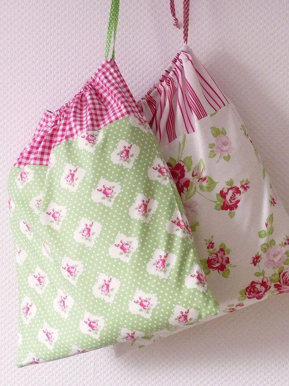 Retro Laundry Bag. Lingerie Bag. Large. Red Gingham and Roseprint green. europeanstreetteam. LAST ONE