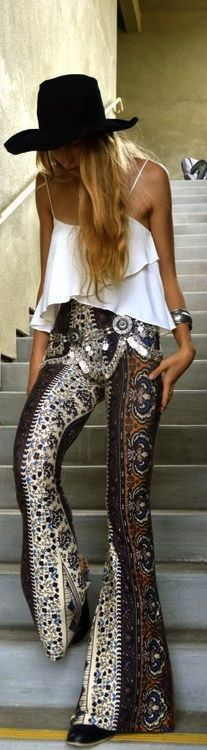 printed bell bottom pants, bohemian silver gypsy belt + a frilly white tank. perfect boho style!