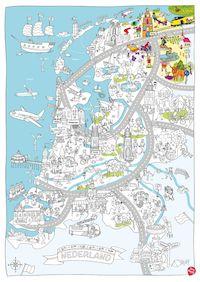 Kleurplaat topo Nederland