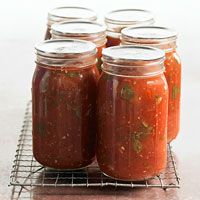 Tomato-Basil Simmer Sauce.  I made this last summer and it was fantastic.  Takes LOADS of tomatoes, to produce just a few jars of sauce, but it was my favorite sauce I made all summer.