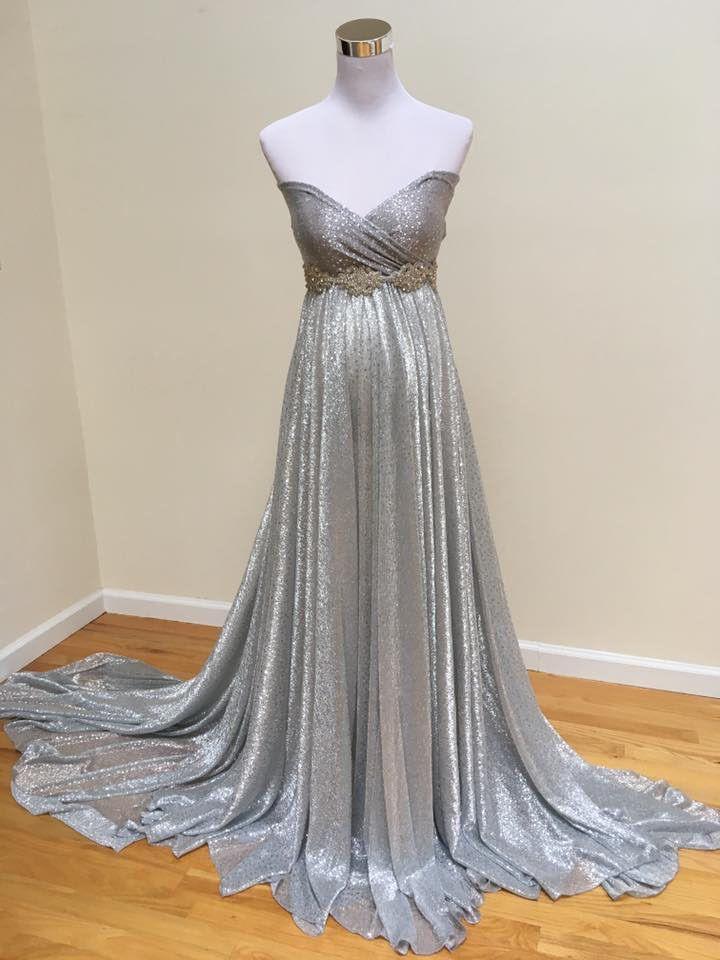 Silver Maternity Dress with long sleeves blazer - Silk Fairies