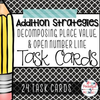 24 FREE addition strategy task cards that can be used as a math station, math center, small group practice, or for early finishers! Just print, laminate for durability, and you're done! This product includes: - 8 decomposing task cards - Decomposing recording sheet - 8 place value task cards - Place value recording sheet - 8 open number