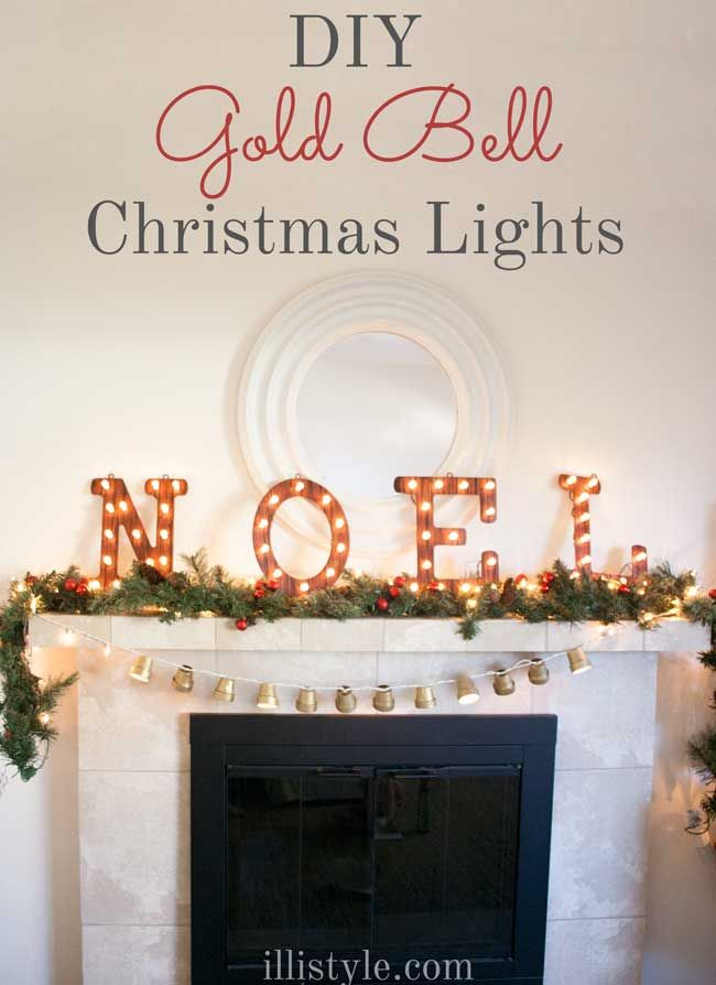 These DIY Gold Bell Christmas Lights - these are so nostalgic and sweet! - illistyle.com