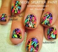 Nail-art by Robin Moses: splatter paint nails, pollock splatter, neon splatter nail, neon on black nails, rainbow splatter polish, splatter mani, splash of color, robin moses, hot pink and teal nail, pink and teal nail, pink flower nail, teal flower nail, 80s retro nail, retro pastel nails, retro splatter, john hughes nails, romantic nails, pastel wedding nail,