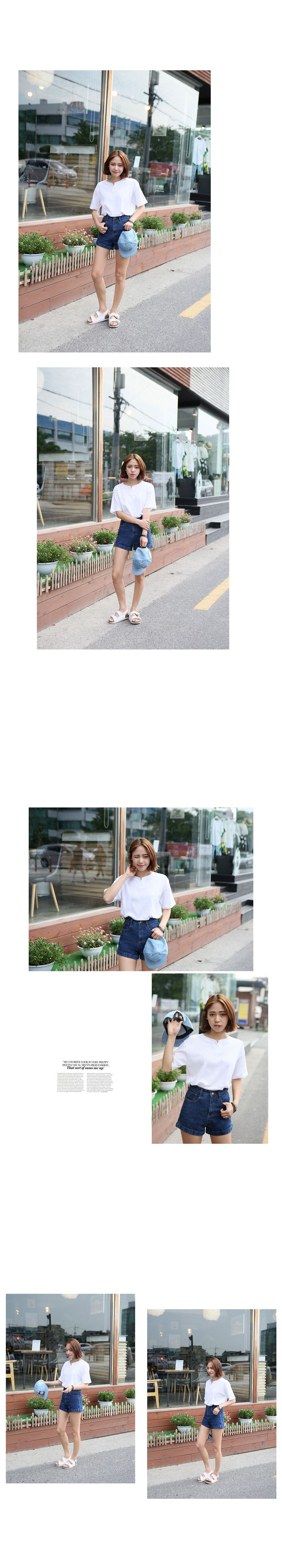 フライス生地無地ハーフTシャツ - 激安カジュアルファッション通販《GOGOSING》♥安カワな人気レディースファッションが続々入荷中!!