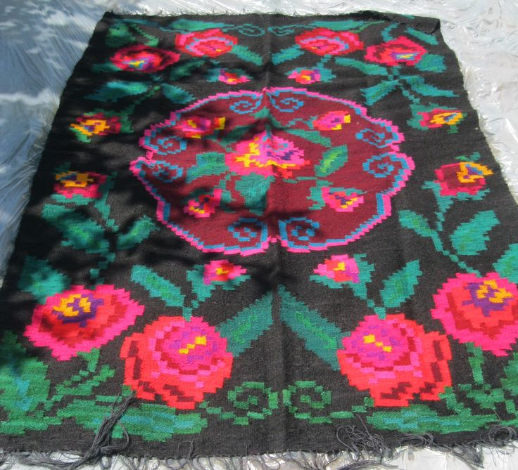 Splendid antique Romanian wool rug from Transylvania available at www.greatblouses.com