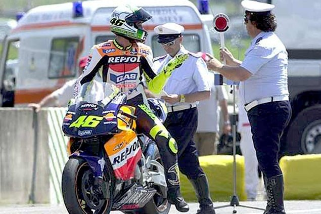 2002  Mugello  Speeding Ticket Celebration  Rossi Wins