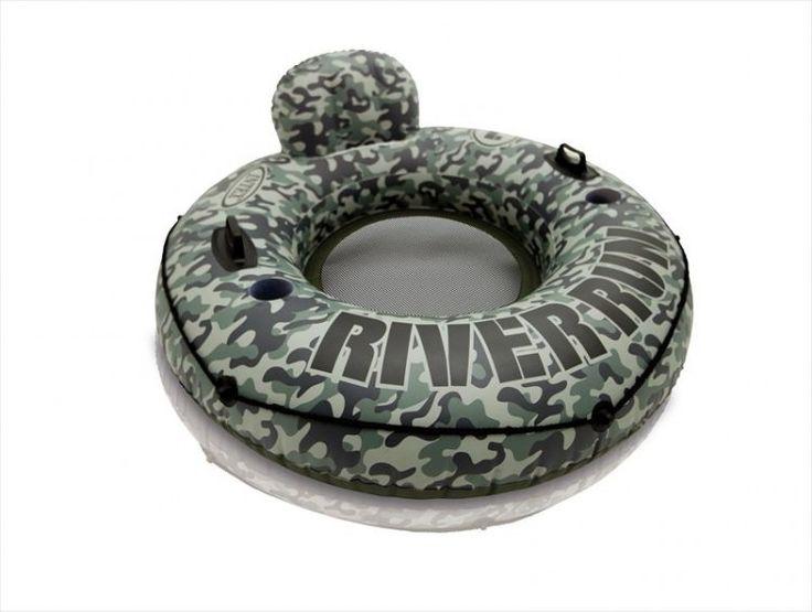 Intex 58835 zwemband met legerprint  Afmeting: 135 cm Materiaal: 0.45 mm vinyl Quick release ventiel 2 luchtkamers 2 stevige handgrepen 2 bekerhouders Rondom touw om aan vast te houden. Bodem van waterdoorlatende stof (net) Ruggensteun Incl. reparatieset  EUR 22.95  Meer informatie