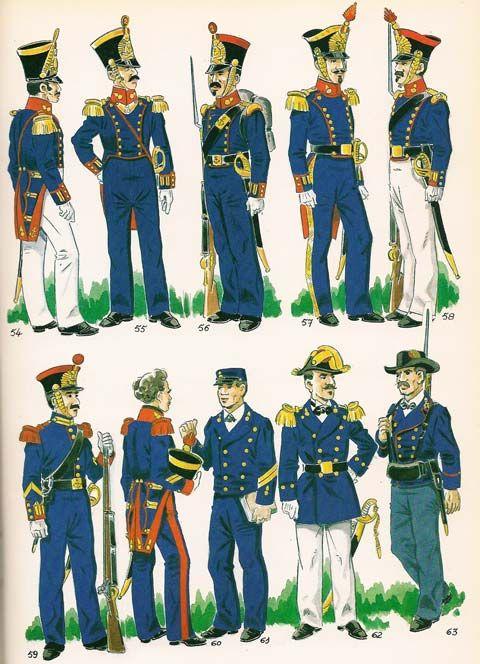 Fig. nº 054 y 055 - Oficiales del Cuerpo de Artilleria de Marina,1846 Fig. nº 056 - Artillero en uniforme de gala en formación en invierno,1846. Fig. nº 057 - Oficial del Cuerpo de Artilleria de Marina de gala.1856. Fig. nº 058 - Artillero en uniforme de gala en formación de verano . 1858. Fig. nº 059 - Cabo 2º de los Batallones del Real Cuerpo de Infanteria de Marina. 1848. Fig. nº 060 - Escuela de Condestables ,Alumno de gala 1845. Fig. nº 061 - Escuela de  Condestables, alumno con el…