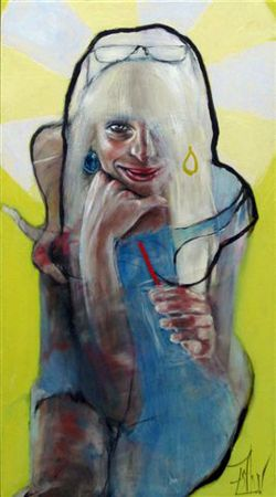 Esther Erlich  Sunny - 2013  Acrylic on canvas   102 x 56 cm