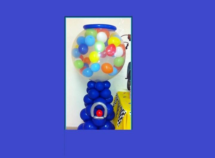 Gum ball machine balloon decorations pinterest for Balloon decoration machine