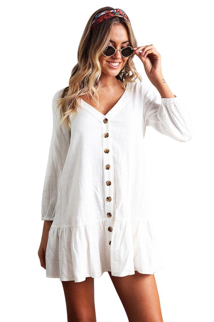 white sleeved button down short casual dress weisse kleider kurz