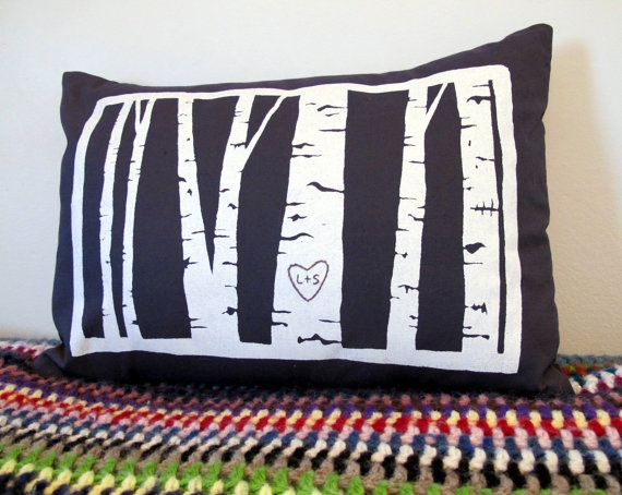 custom birch tree pillow cover -- personalized with your initials & 25+ unique Custom pillows ideas on Pinterest | Custom map maker ... pillowsntoast.com