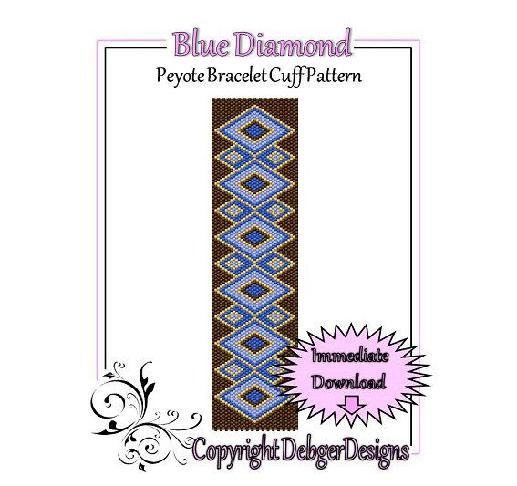Bead Pattern Peyote(Bracelet Cuff)-Blue Diamond