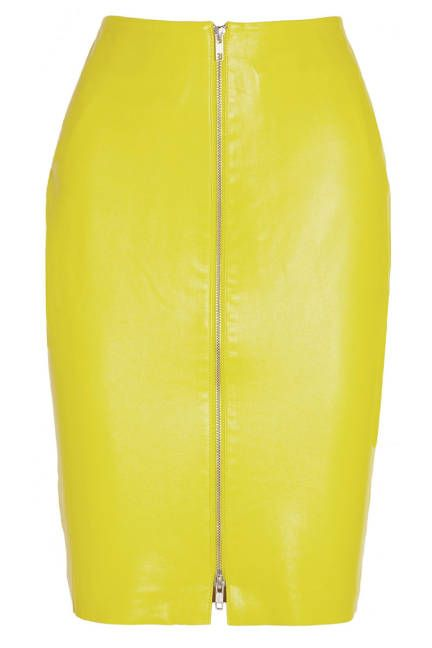 Confidence is key when wearing this yellow leather skirt