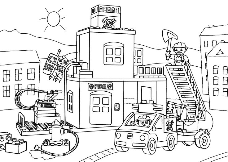 Lego fire station coloring page for kids, printable free. Lego Duplo