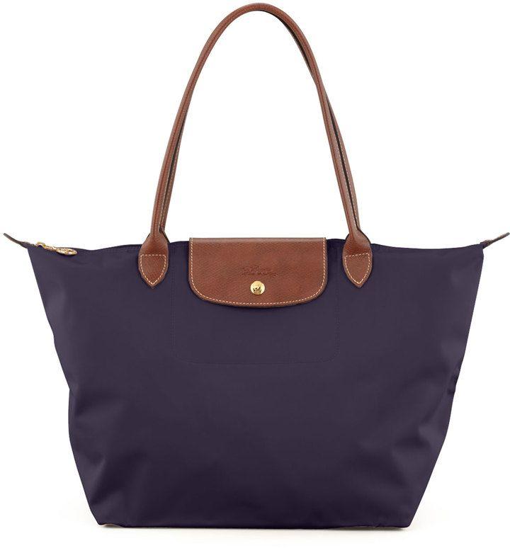Longchamp Le Pliage Large Monogram Shoulder Tote Bag, Purple