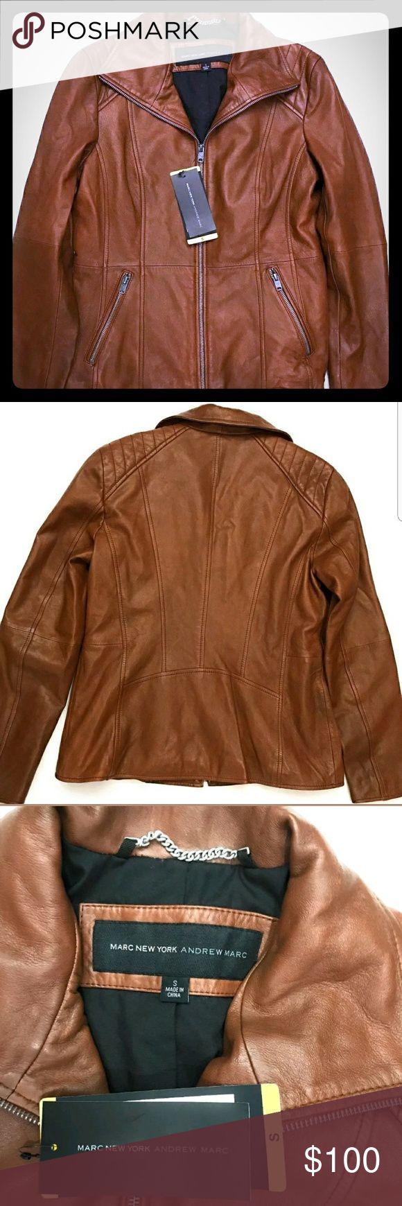 BEAUTIFUL cognac lambskin leather Marc New York.  New with tags. BEAUTIFUL cognac color. Lambskin leather. Marc New York Jackets & Coats