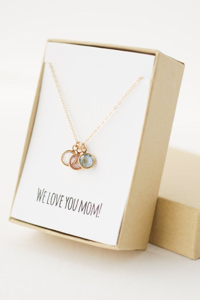 Birthstone Charm Necklace for Mom